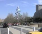 Spectrum sculpture in front of COSI