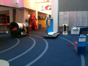 "COSI's ""Adventures with Clifford The Big Red Dog"" exhibition being dismantled."